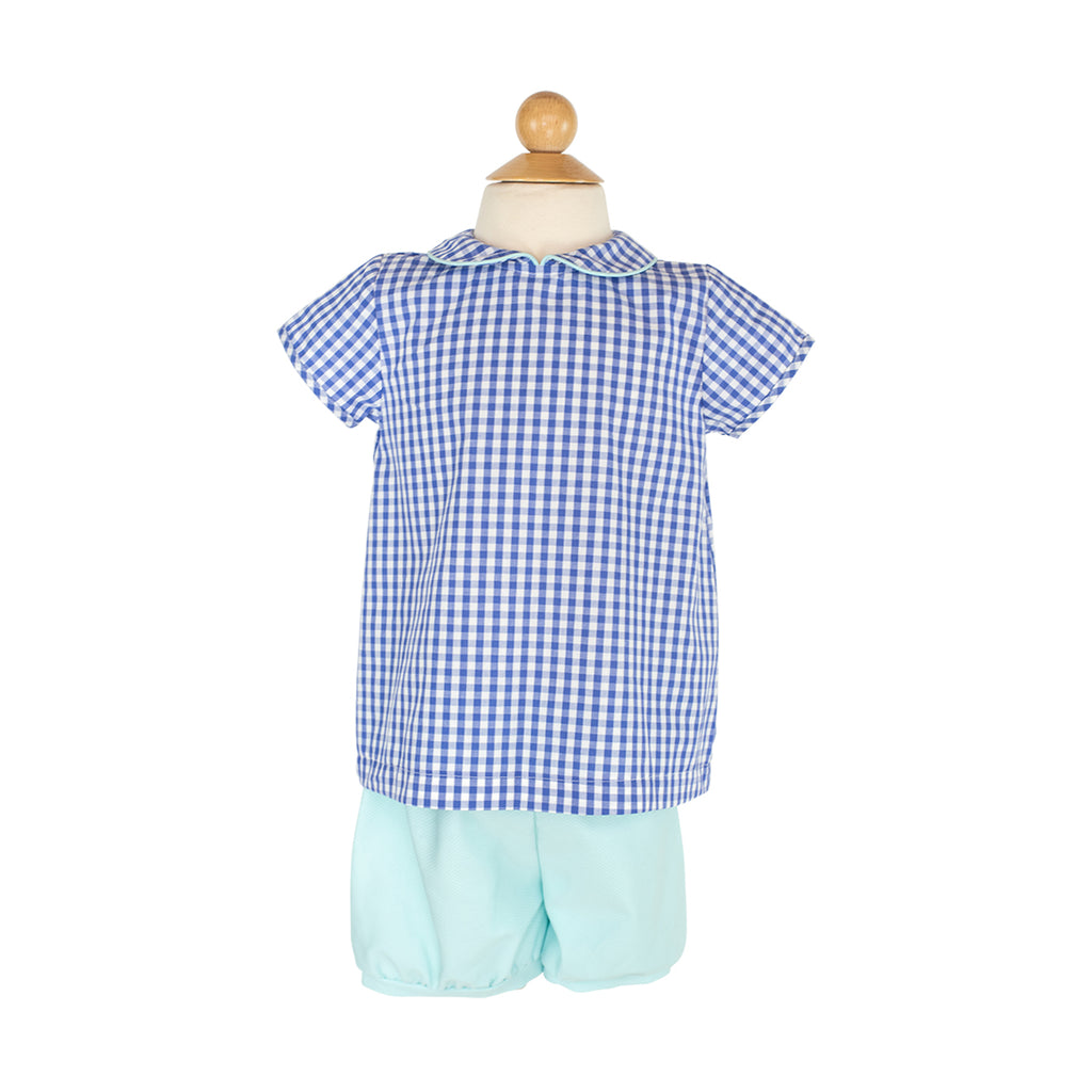 Basic Boy Peter Pan Shirt Sample Size 3 Royal Gingham