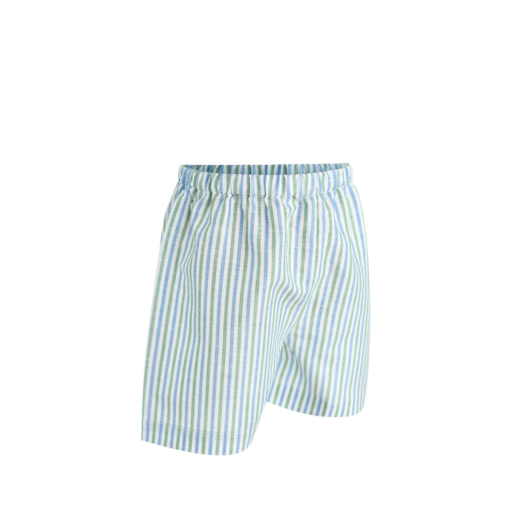 Ethan Short Sample Size 4 Ocean/Grass Linen Stripes