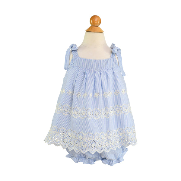 Elsie Bloomer in Embroidered Blue Pinstripe