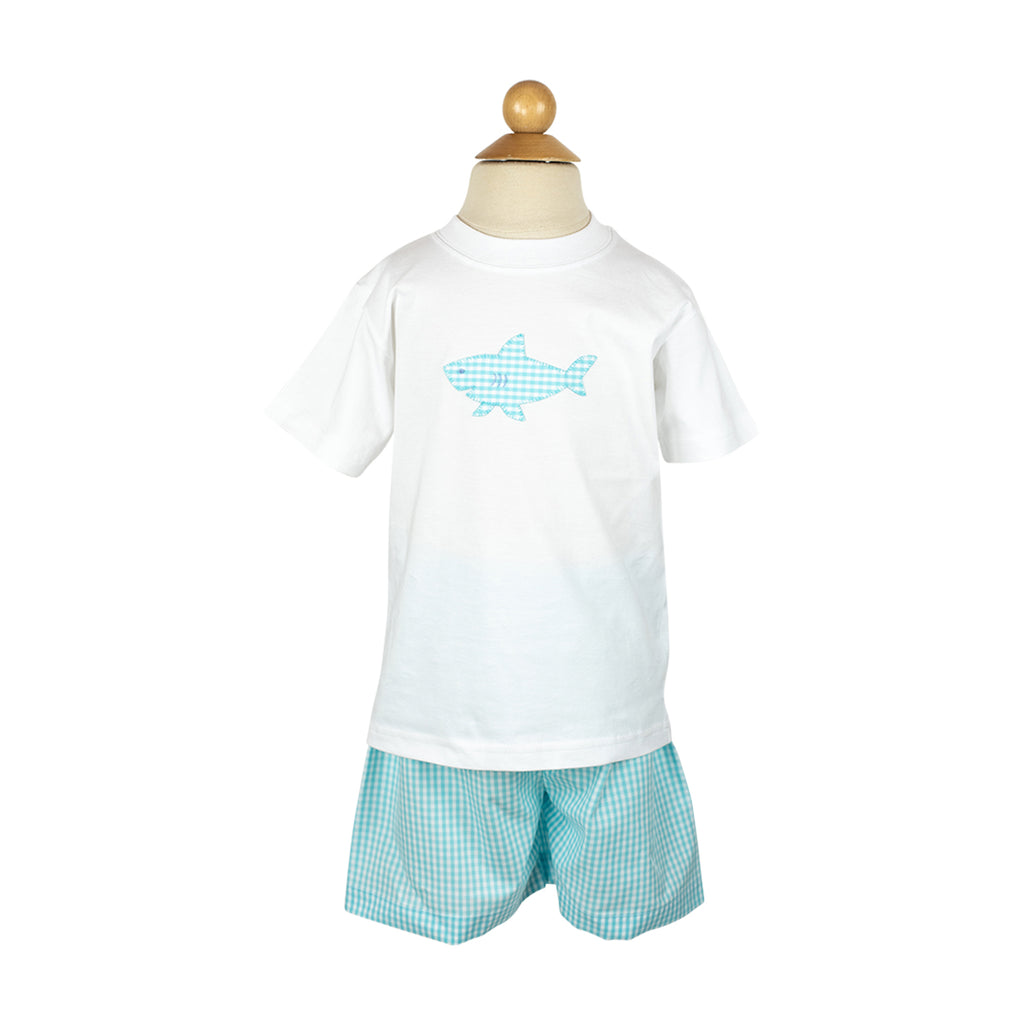 Ethan Short Sample- Size 5 Aqua Gingham