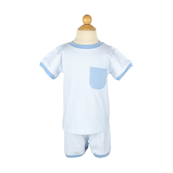 Boy PJs Blue Square Sample Size 4