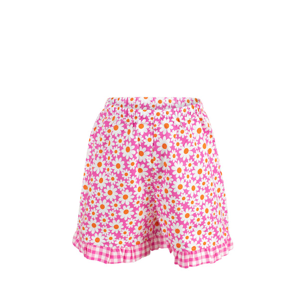 *Missy Short-Daisy with Large Hot Pink Check Ruffle
