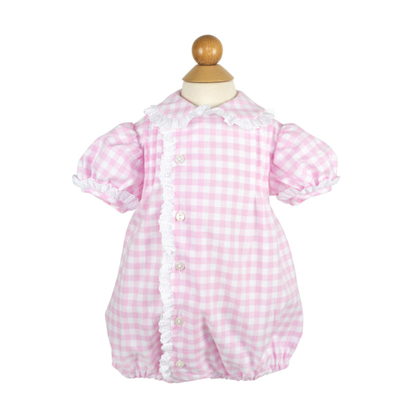 Hillary Bubble- Sample Size 18m in Pink/White Squares