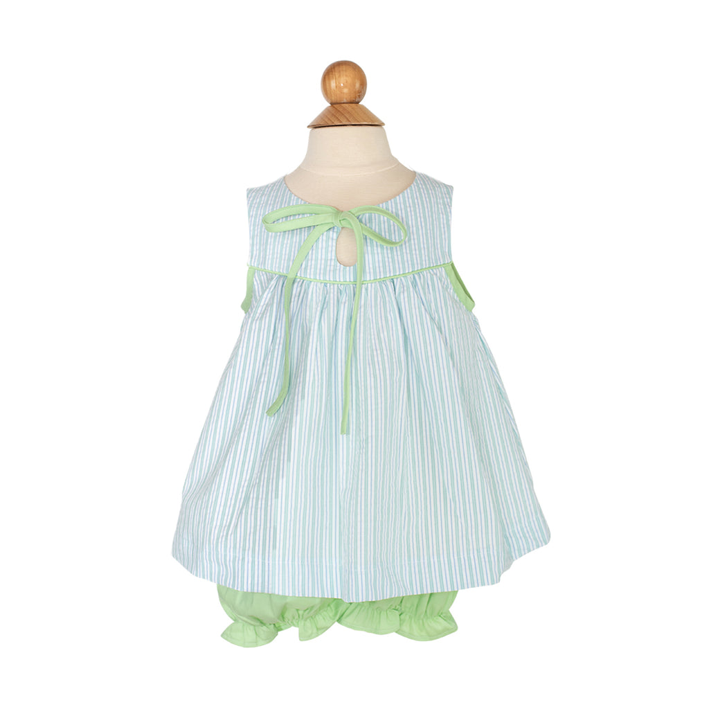 Tilly Top Sample - Size 3 Green/Blue Stripe