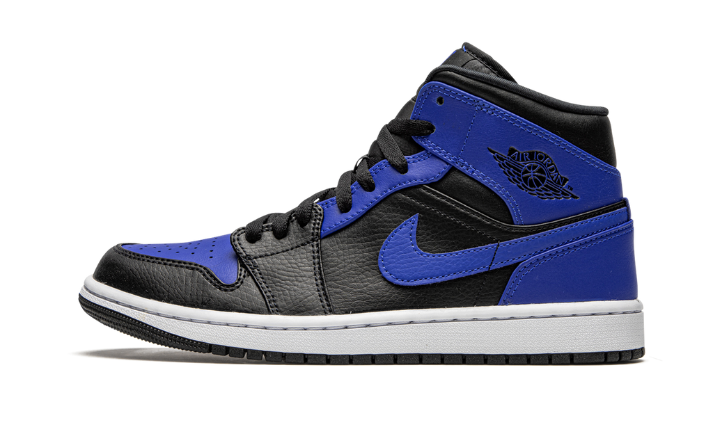 Jordan 1 Mid Black Royal Tumbled Leather