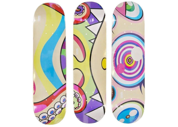 Takashi Murakami Octopus Skateboard Deck Set Rainbow