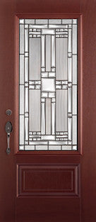 Mahogany Fiberglass Door : MAH-2EM c/w 22 x 48 Hycroft Glass