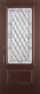 Mahogany Fiberglass Door : MAH-2EM c/w 22 x 48 Willow Glass