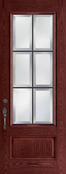 Oak Fiberglass Door : WG-8-3Q c/w 22 x 64 Anvil Glass