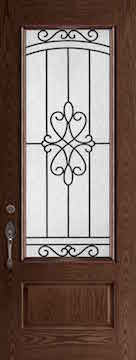 Oak Fiberglass Door : WG-8-3Q c/w 22 x 64 Arrandale Glass
