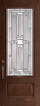 Oak Fiberglass Door : WG-8-3Q c/w 22 x 64 Hycroft Glass