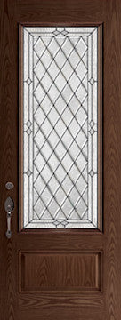 Oak Fiberglass Door : WG-8-3Q c/w 22 x 64 Willow Glass