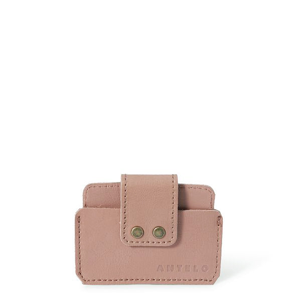 Cole leather card holder - Sand