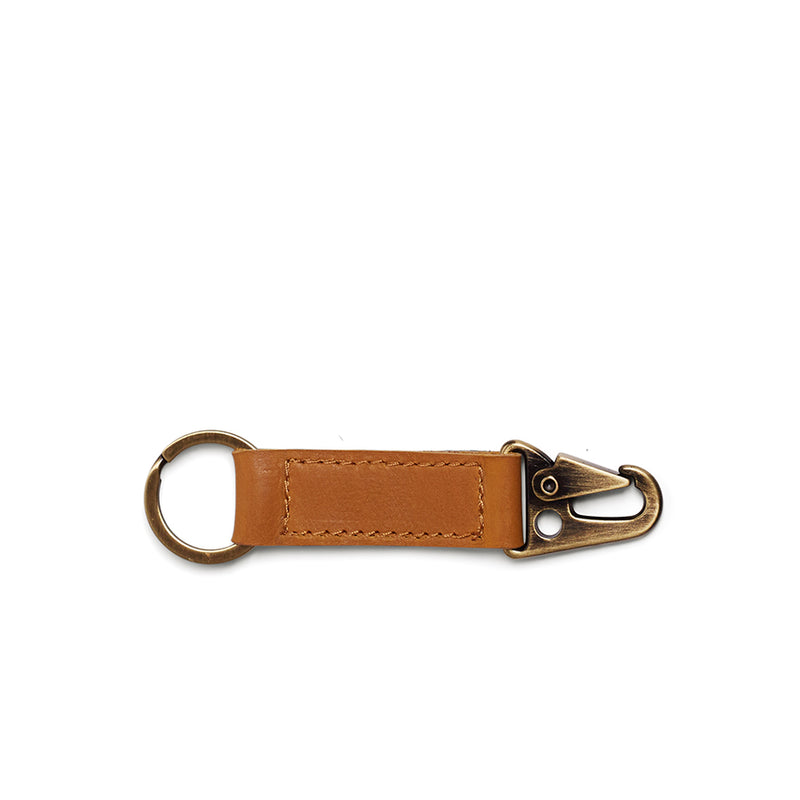 Rocco Leather Carabiner Keyring - Mustard