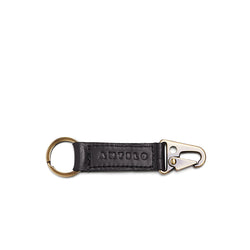 Rocco Leather Carabiner Keyring - Black