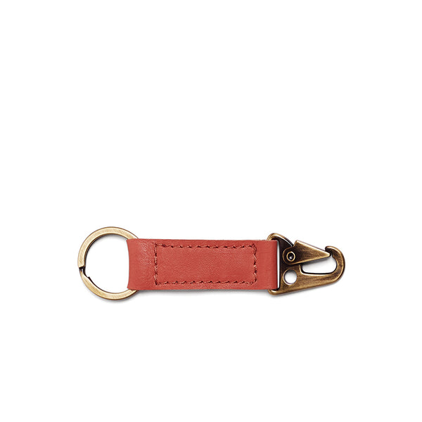 Rocco Leather Carabiner Keyring - Terra Cotta Pink