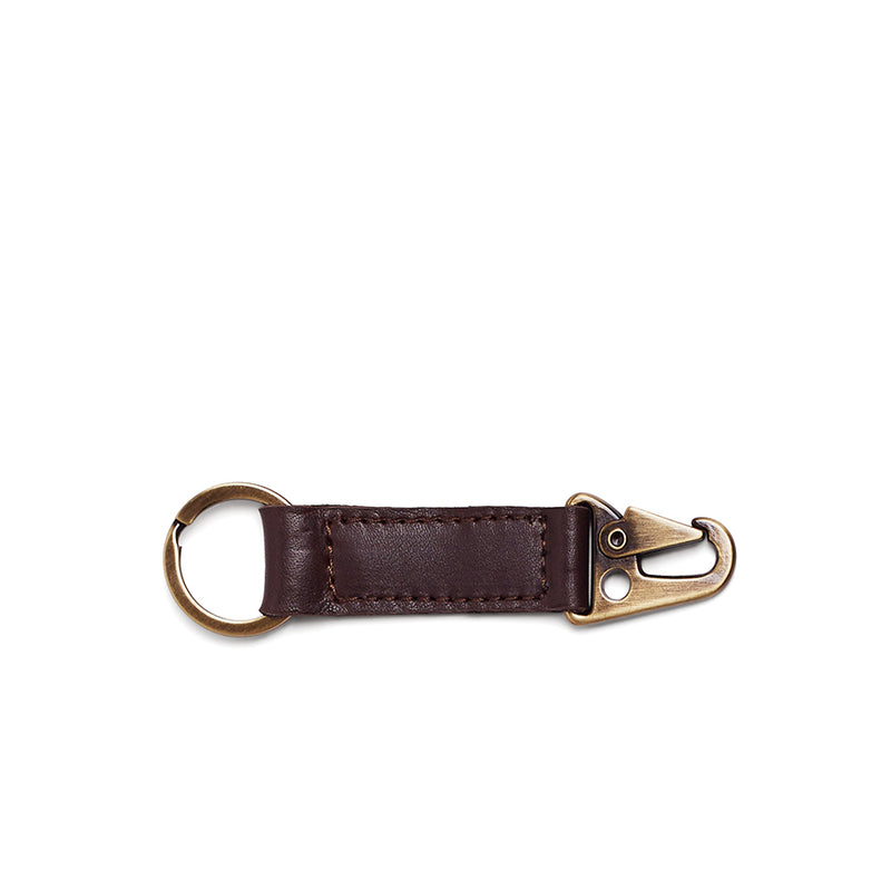 Rocco Leather Carabiner Keyring - Brown