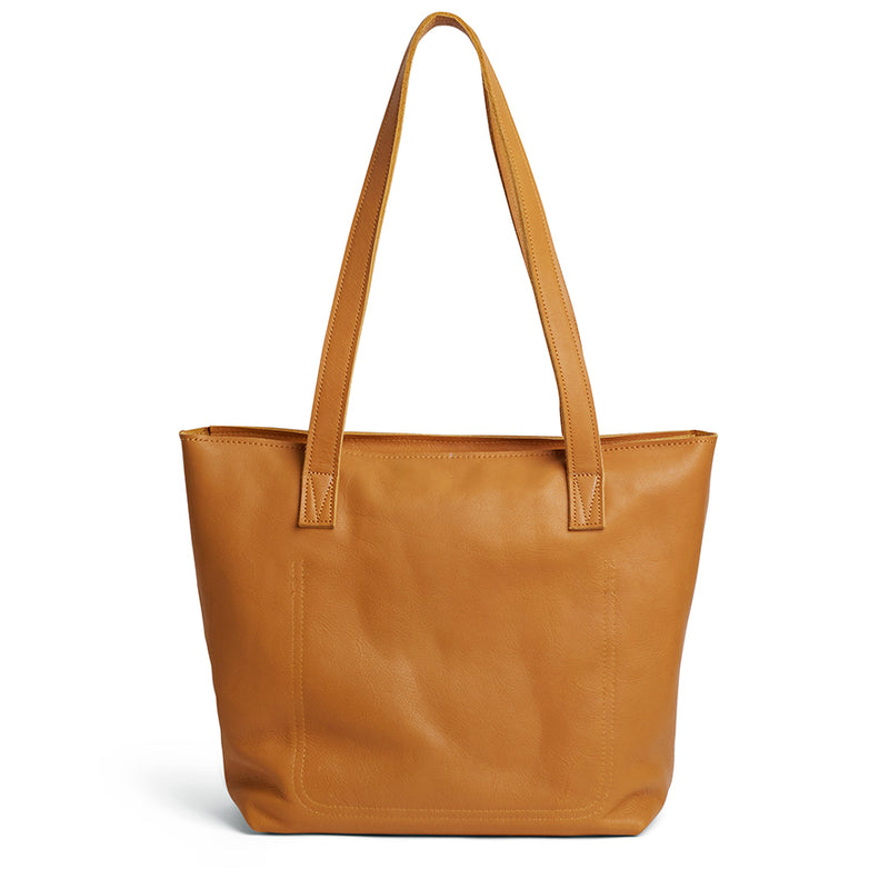 Emmy unlined Leather Tote with Zip - Mustard