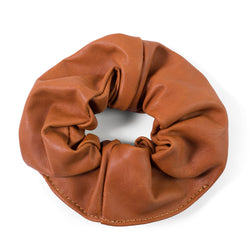 Ty leather scrunchie - Cider Tan