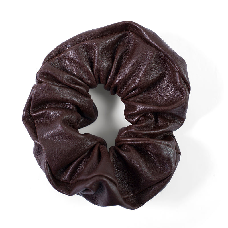 Ty leather scrunchie - Brown