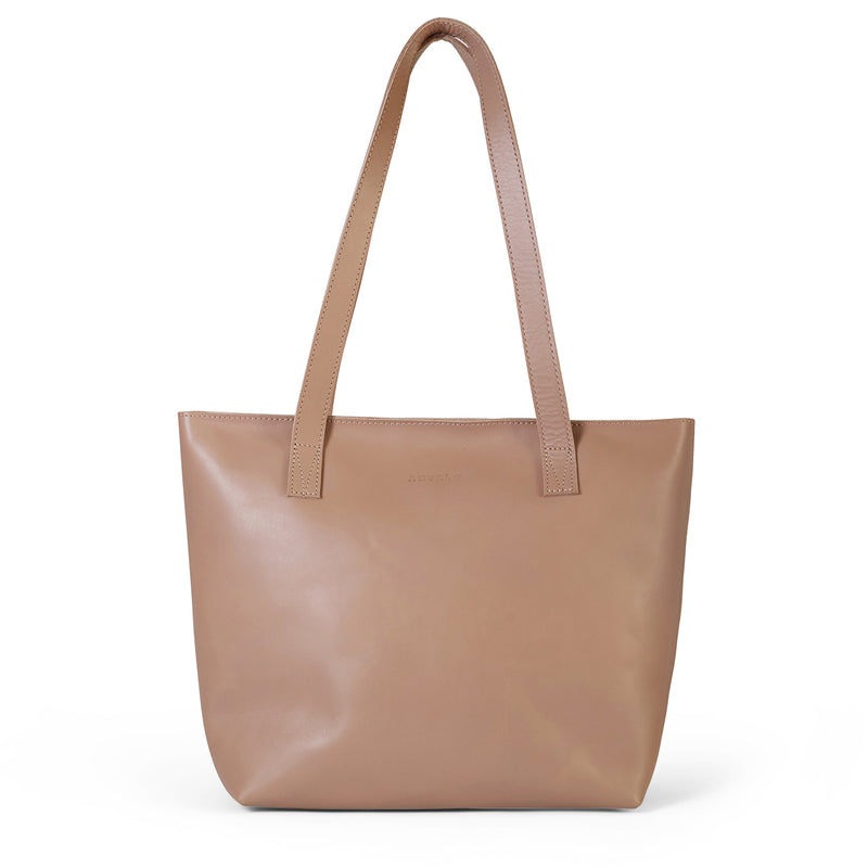 Emmy unlined Leather Tote with Zip - Sand