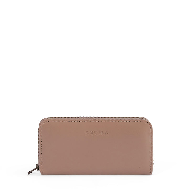 Hayley ladies leather zip-around wallet - Sand