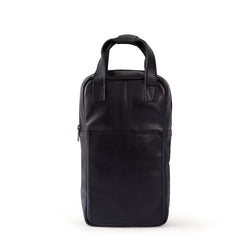 Hunter leather wine carrier - Black