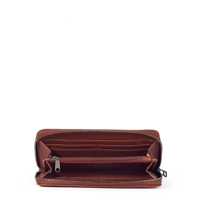 Hayley ladies leather zip-around wallet - Tan