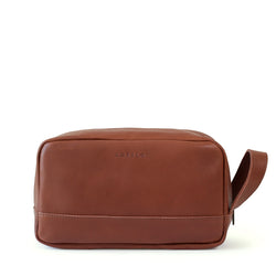 Will large leather washbag - Tan