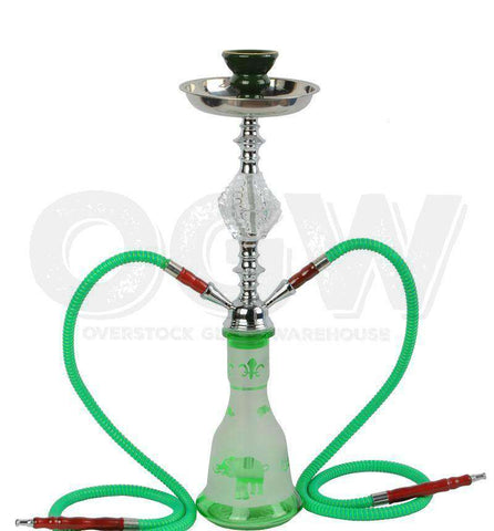 Hookah Glass Water Stand Set with Ash Plate Green