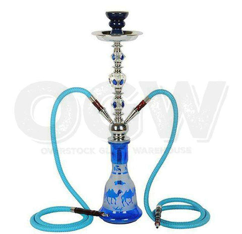 Hookah Glass Water Stand Set with Ash Plate Blue