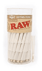 Raw Organic 1 1/4 Pure Hemp Pre Rolled Cones With Tips- 150 Pack