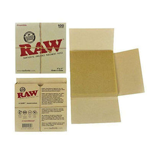 "RAW Unrefined Parchment Paper Squares 5"" x 5"" 100 Sheet Pack"