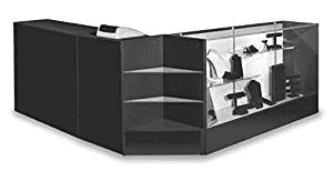 "Combo Checkout Counter 48"" Wrap Around Black"