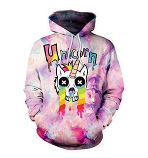 Cartoon Unicorn Hoodie Pullover