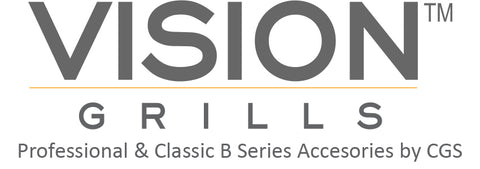 Vision Grills Logo with ceramic grill store accessories