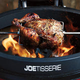 direct grilling whole chicken on joetisserie by Kamado joe