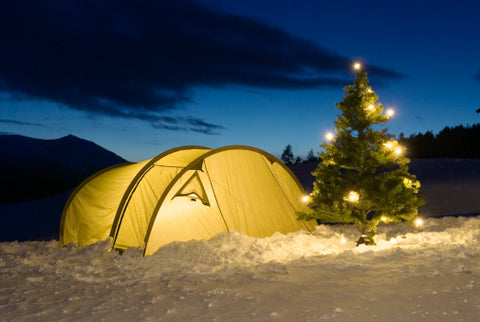 christmas holiday camping pine tree lights trek ultra