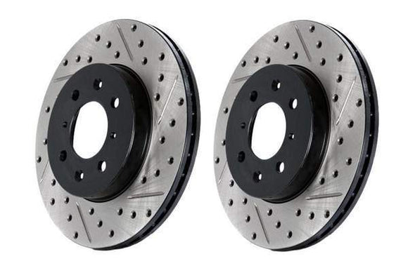Front Stoptech Cross Drilled & Slotted Rotors - Set Of 2 Rotors (312x25mm)