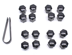 17mm Head Black Wheel Bolt Caps (Set of 16 with Tool)