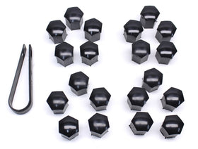 17mm Head Black Wheel Bolt Caps (Set of 20 with Tool)