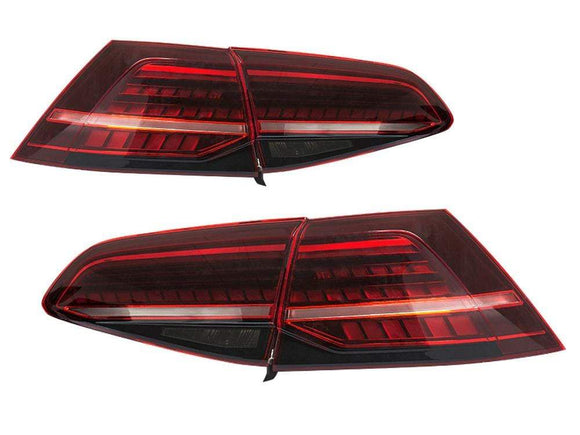 Mk7 VW Golf GTi R Facelift Style Helix Dynamic LED Dark Cherry Tail Light Set