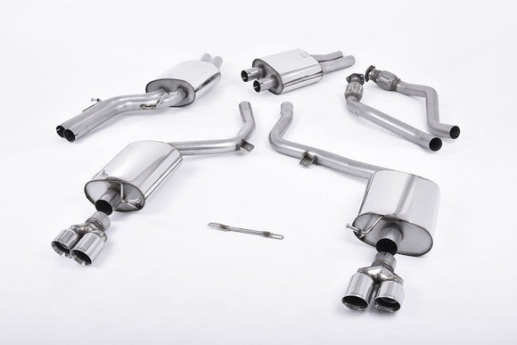 Milltek Cat Back Resonated Exhaust - 80mm GT Quad Tips - S5 Cabriolet 3.0T quattro S-tronic