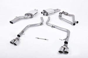 Milltek Cat Back Non Resonated Exhaust - 80mm GT Quad Tips - S5 Cabriolet 3.0T quattro S-tronic