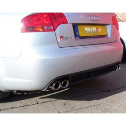 Milltek Cat Back Resonated Exhaust - Excluding Exhaust Valves - Polished Quad Tips - RS4 B7 4.2 V8