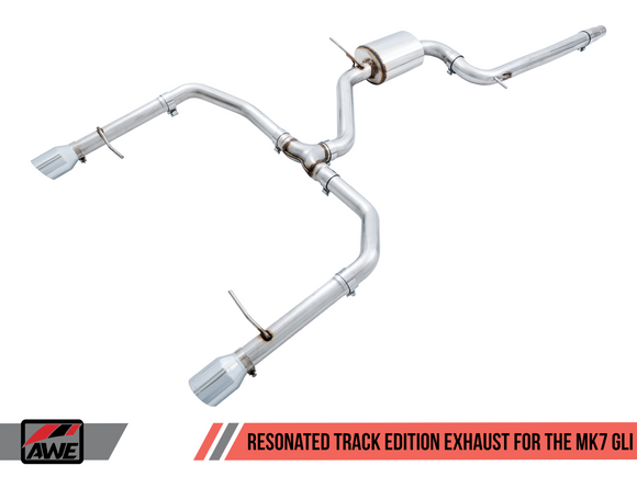 AWE Track Edition Exhaust - Resonated - for MK7 Jetta GLI w/ High Flow Downpipe (not included) - Chrome Silver Tips