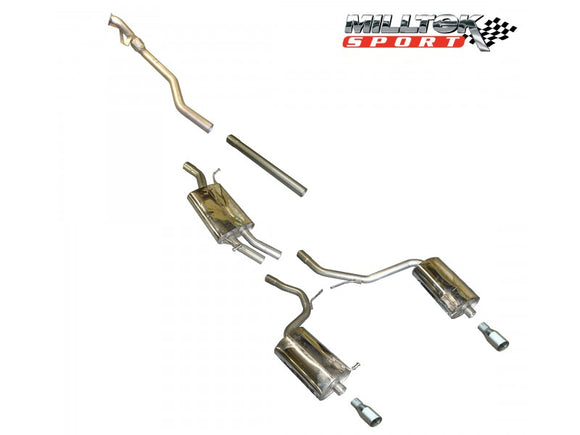 Milltek Cat Back Exhaust with 100mm Polished Tips - A4 1.8T B6 2WD - 5 speed