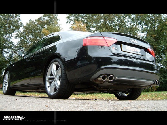 Milltek Valvesonic Cat Back Exhaust Polished Silver Tips - Audi S5 4.2L V8 Quattro