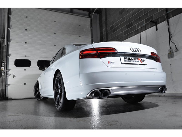 Milltek Non-Resonated Cat Back Exhaust With Cerakote Black Tips  - Audi S8 4.0 TFSI Quattro Tiptronic