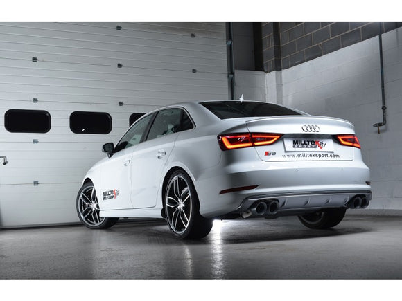 Milltek Non-Resonated Cat Back Exhaust With Quad Round Polished Tips  - Audi S3 2.0 TFSI Quattro Sedan 8V